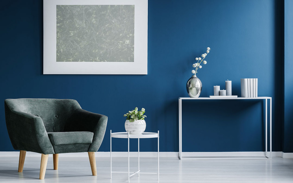 Blue-paint-colour-for-home-decorated-with-wall-frames