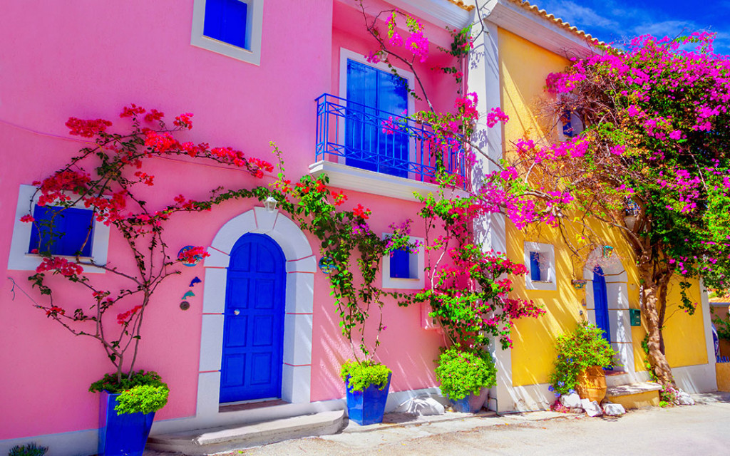 Create-a-theme-for-exterior-walls-painted-in-pink-and-yellow-colour