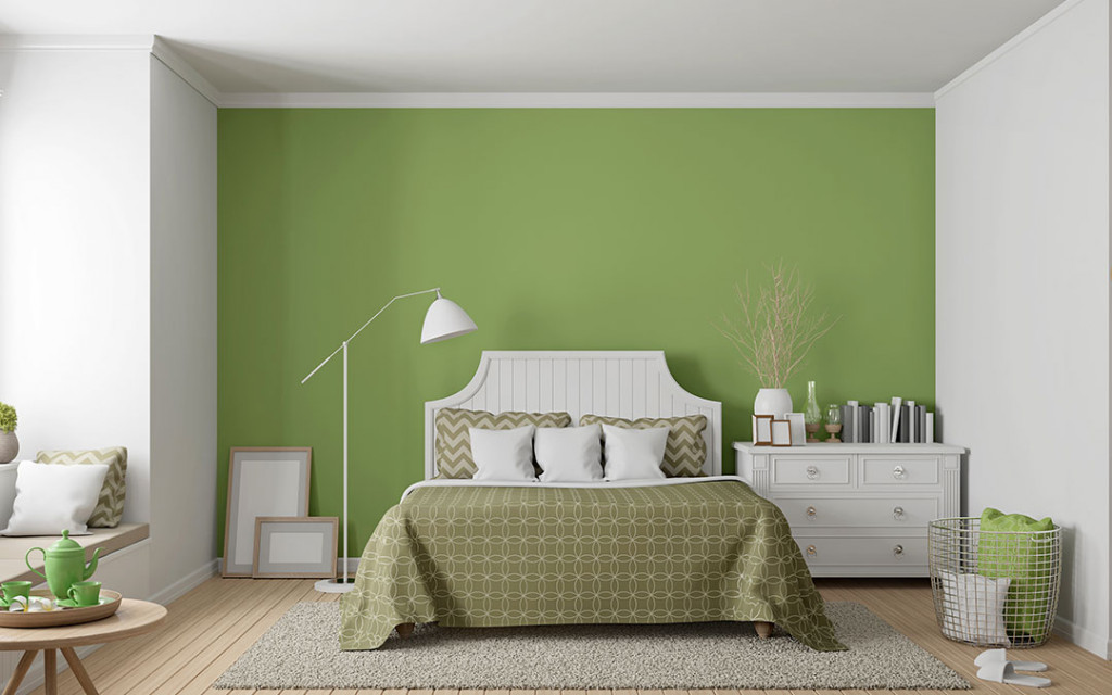 Pistachio-colour-bedroom-combined-with-white
