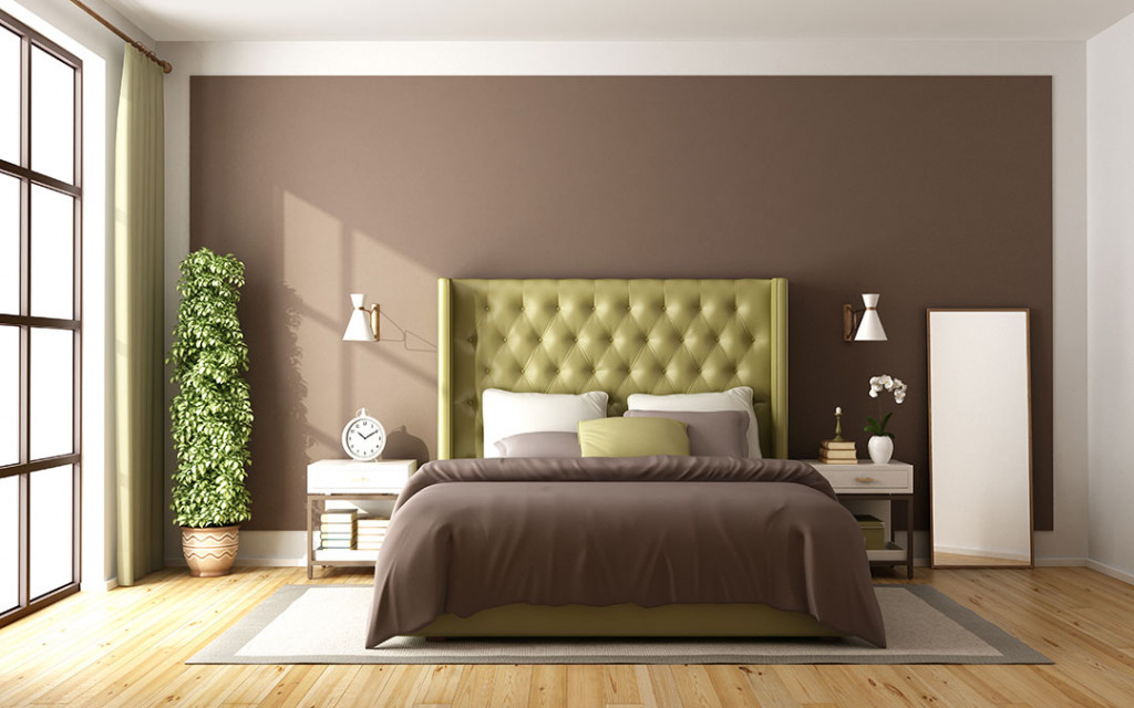 Bedroom-wall-painted-in-brown-colour