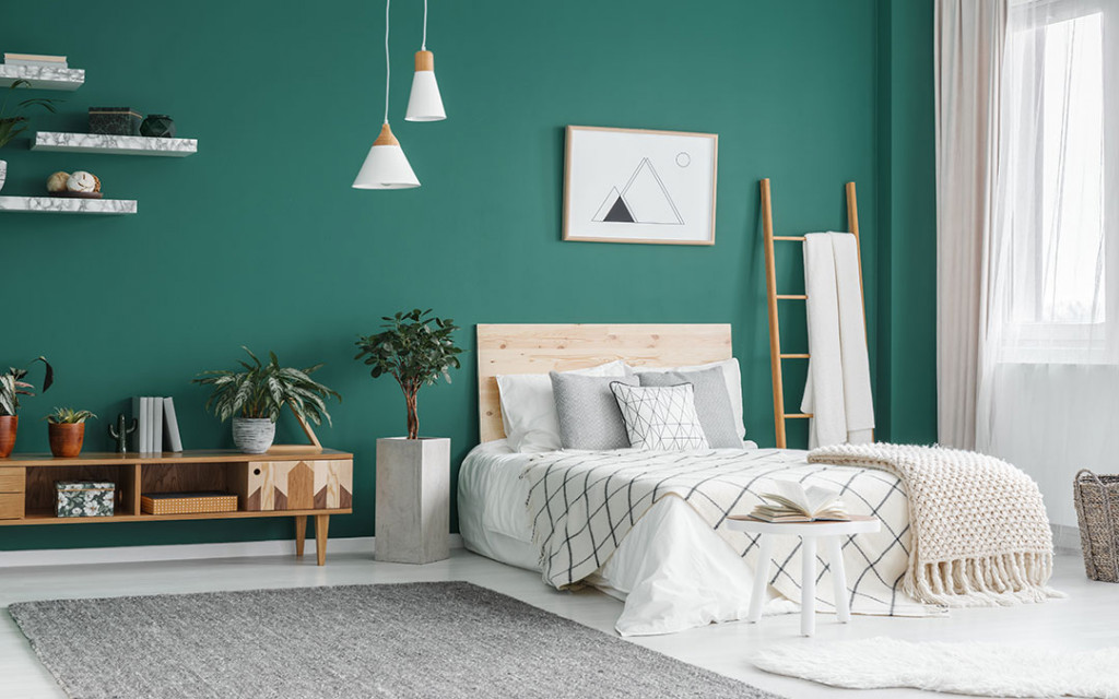 Bedroom-walls-painted-with-green-colour