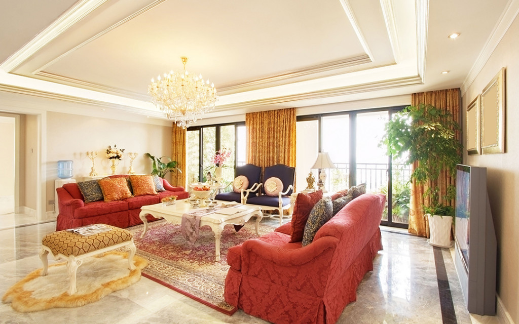 living-room-painted-in-gold-colour-and-decorated-with-furnitures-
