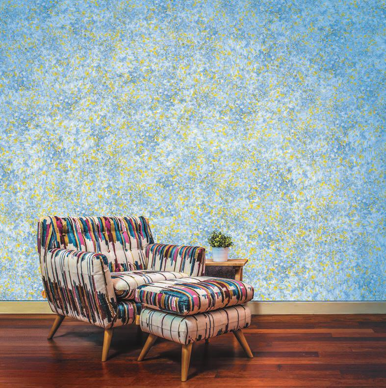 Blue-and-gold-wall-texture-designs-for-living-room