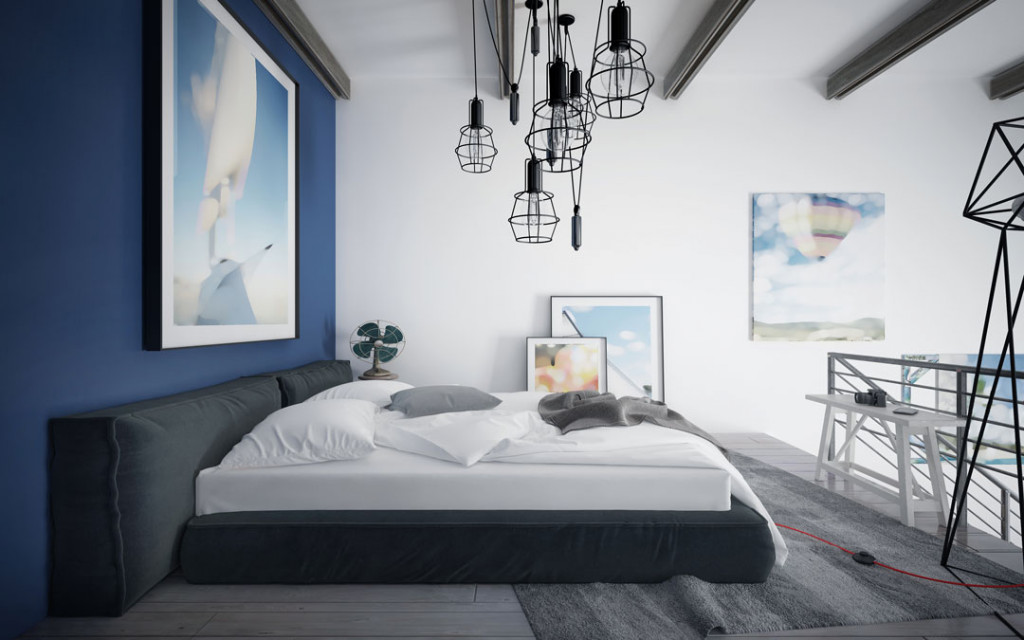 Indigo-and White-wall-paint-colour-combinations-for-bedroom