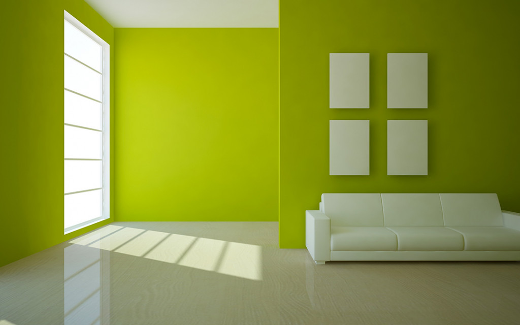 Living-room-wall-painted-with-lime-green-colour