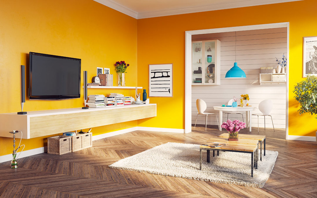 Yellow-colour-living-room-with-hanging-lamps