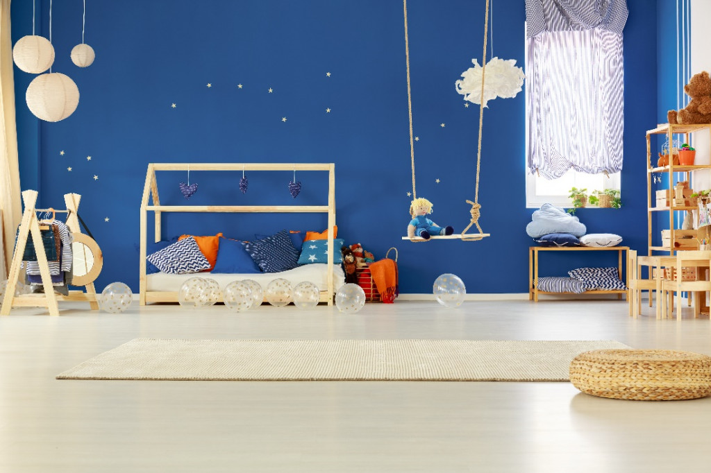 blue color kids room wall paint