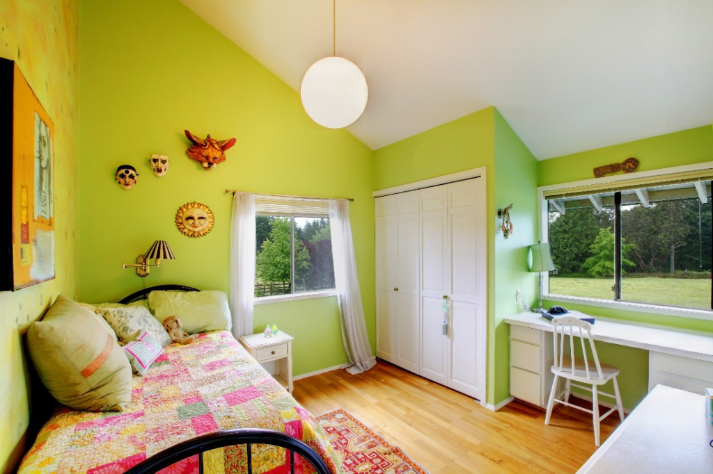 green wall color kids room paint
