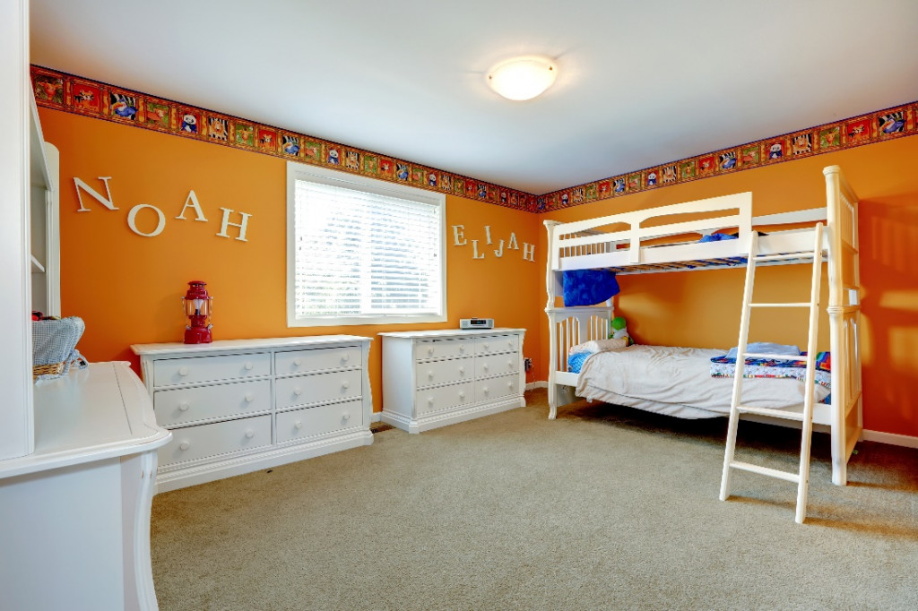 orange color kids room wall paint