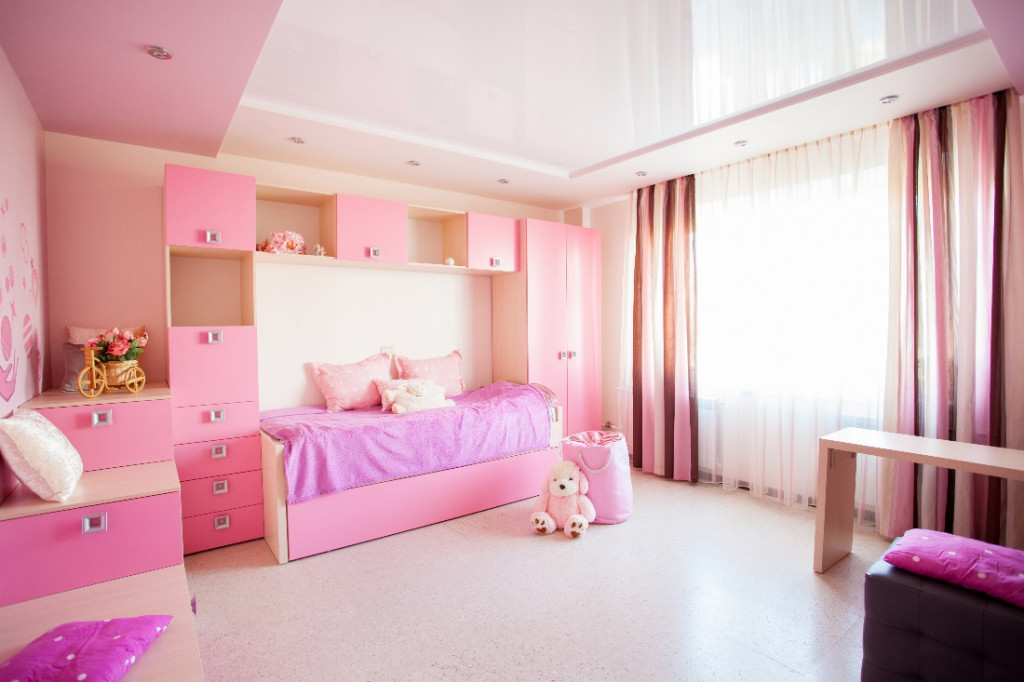 pink crown color kids room wall paint