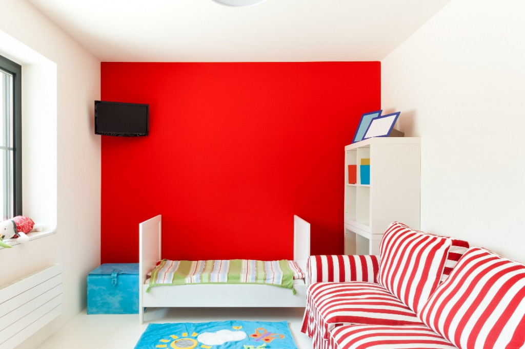 red wall color kids room paint